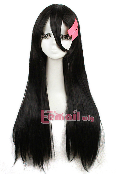 75cm long black Inuyasha Moneca Stori Cosplay Wig