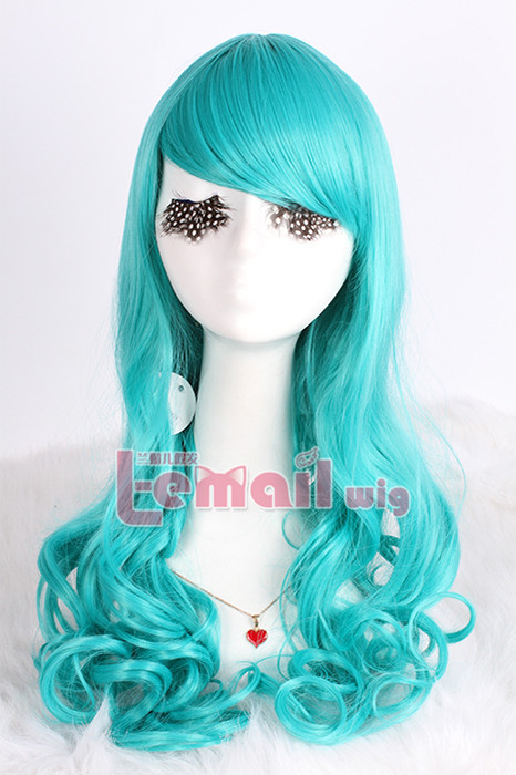 60cm long Dark Turquoise Anime Wavy Cosplay Wig