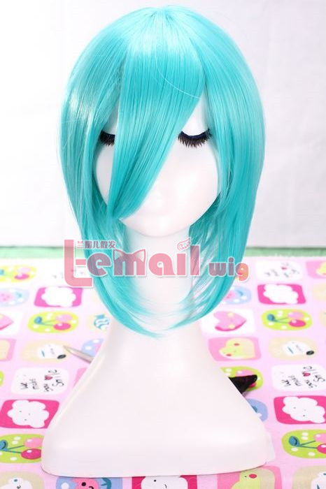 70cm light blue straight clips on Ponytails Cosplay hair wig