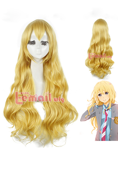 80cm Your Lie in April Miyazono Kaori Yellow Cosplay Hair Wig
