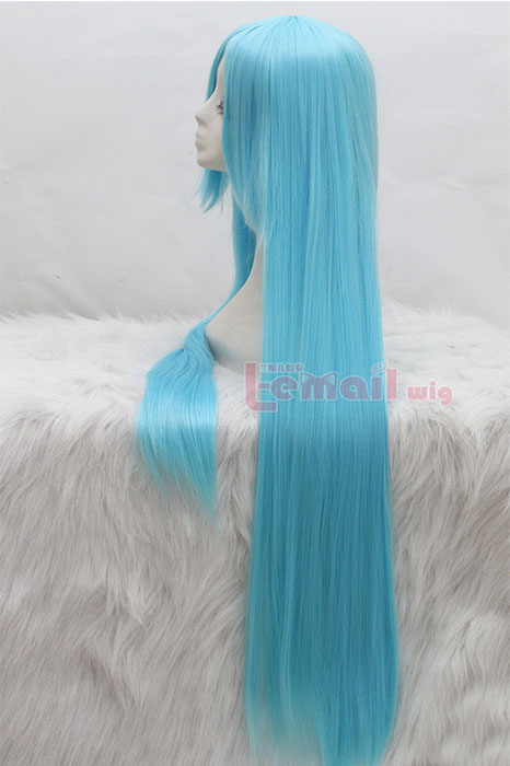100cm Long Light Blue Straight Cosplay Hair Wig