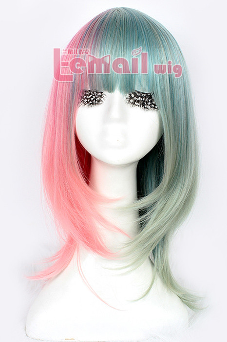 50cm long Zipper multi-color straight cosplay hair wig cw207