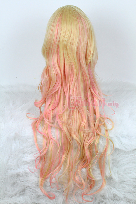 75cm long wave beige fade pink zipper cosplay hair wig