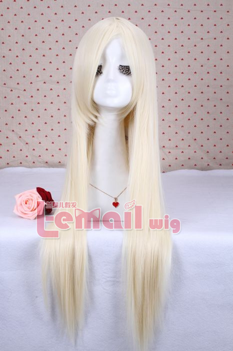 New arrival 80cm long beige white straight cosplay hair wig CW280F