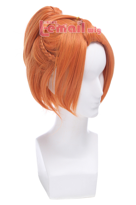 Tsukiuta Haduki You Anime Short Straight Orange Red Wigs ML226