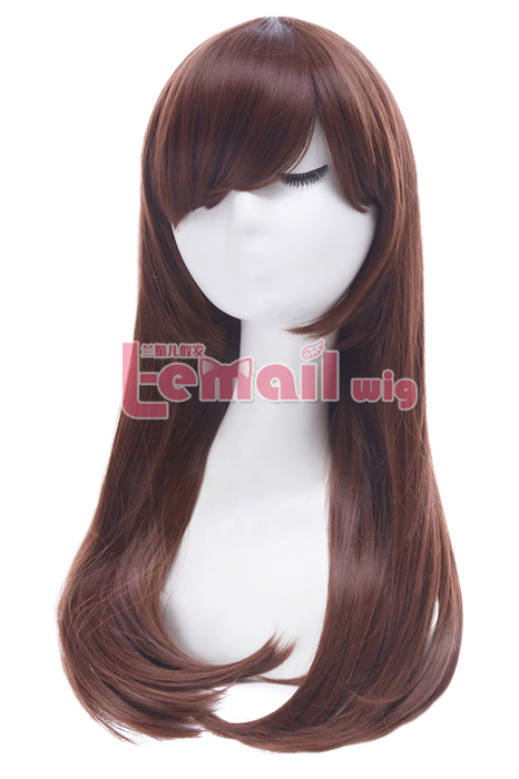 Overwatch D.va Medium Long Straight Brown Cosplay Wigs CB80