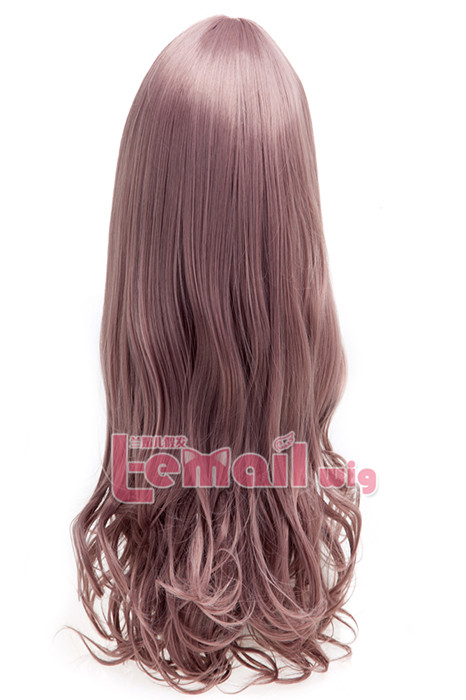 60cm long taro charm sweet curly wavy fashion hair wig