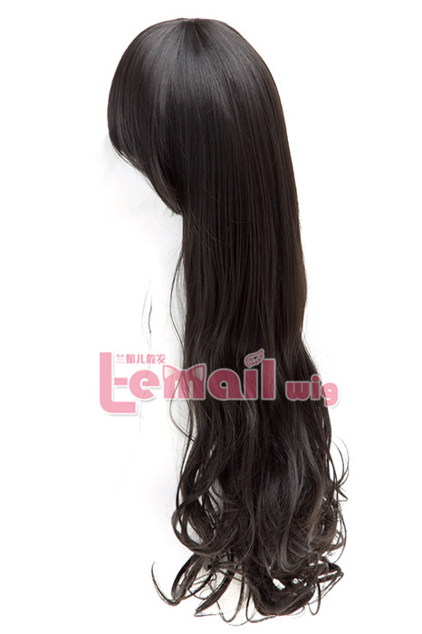 60cm long black charm sweet curly wavy fashion hair wig