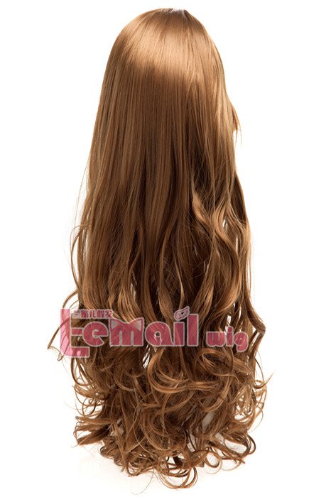 60cm long light brown charm sweet curly wavy fashion hair wig