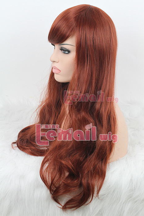 60cm long wine red charm sweet curly wave fashion hair wig