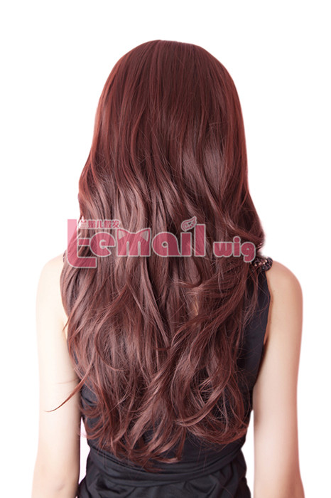 Top quality synthetic 60cm long bright brown hair wig