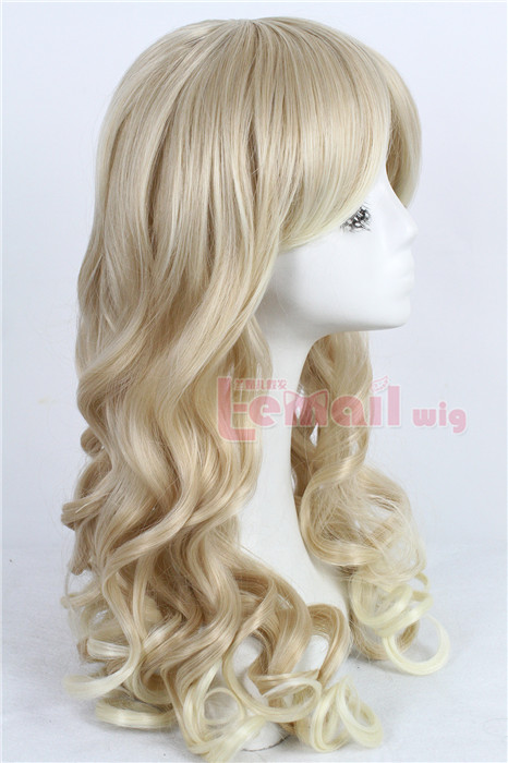 55cm long blonde wave women fashion hair wig