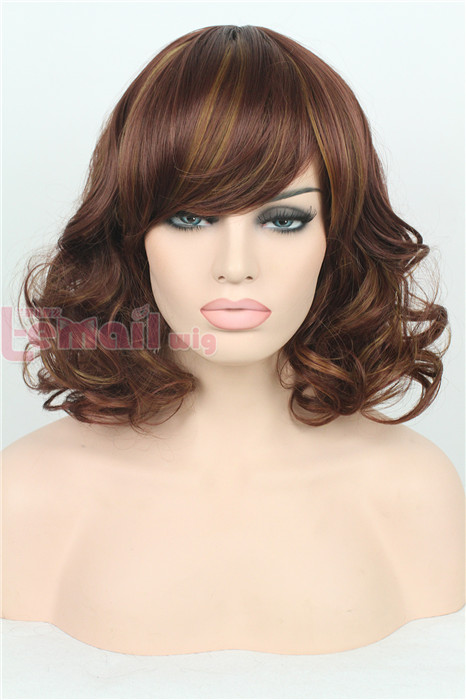 35cm short Wine red & light brown wave women fashion hair wig FM01D