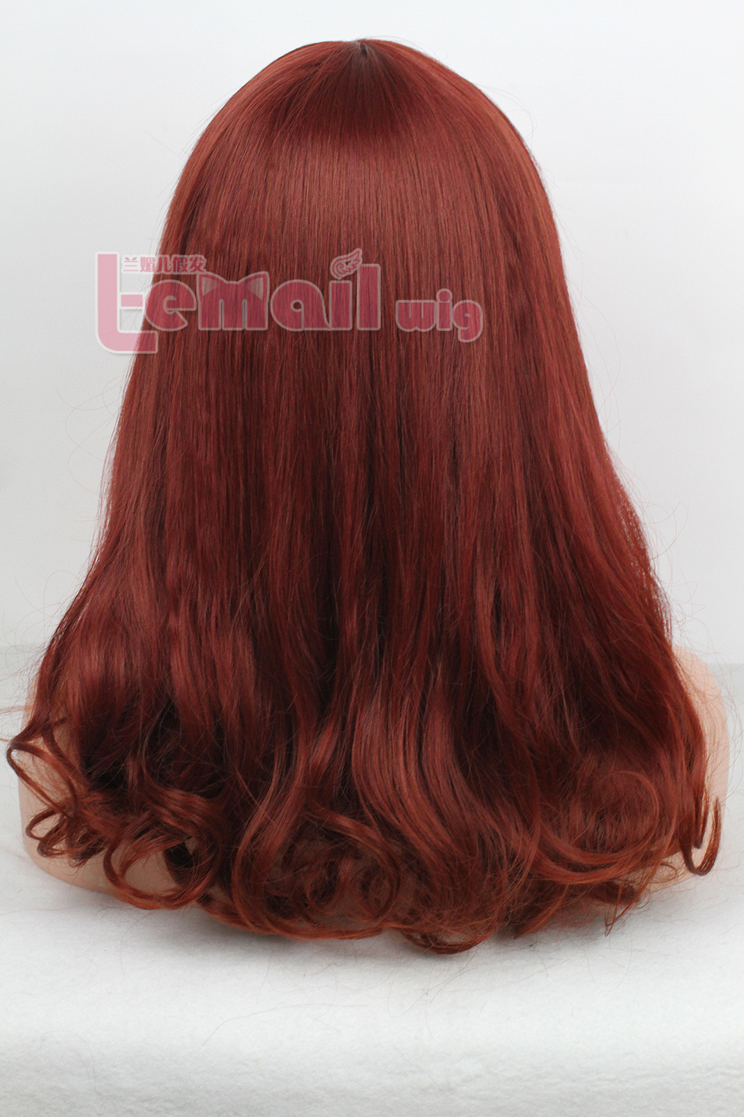45cm Medium Large brown red Fashion Small roll women wig