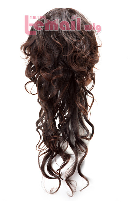 69cm long women dark brown wave cosplay hair wig