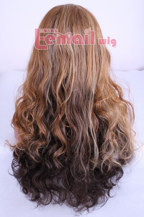 Hot sell Brazilian 60cm Long wave Lace front wig mixed color