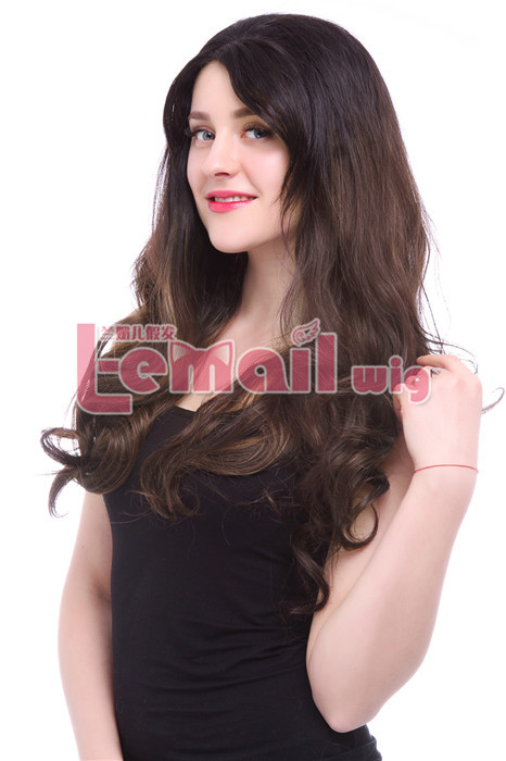 23.62 Inch Women Long Curly Mixed Color Lace Front Wig LC79