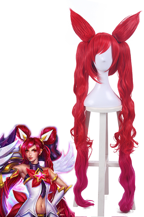 League of Legends Star Guardian Jinx Red Long Cosplay Wigs zy218