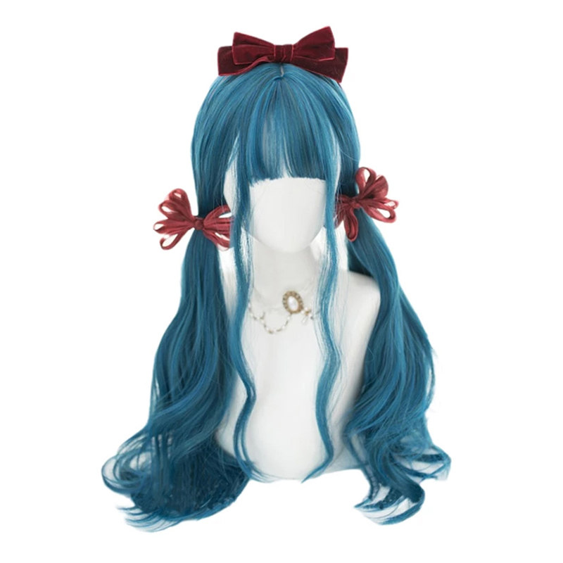 Long Curly Gradient Blue Lolita Wig Mixed Color Harajuku Kawaii