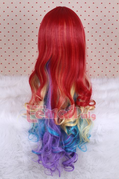 70cm long wave mix color cosplay hair wig