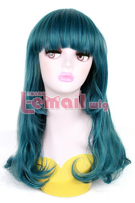 beautiful 50cm Long Teal green Wave ZIPPER Cosplay hair Wig ML194