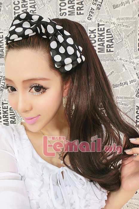 50cm long 3 colors wavy big clip on ponytail hairpiece extension
