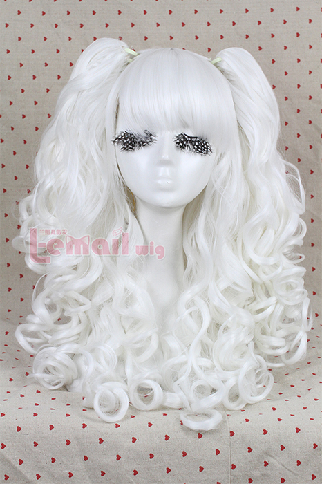 60cm long two color Lolita clip on ponytails cosplay hair wig