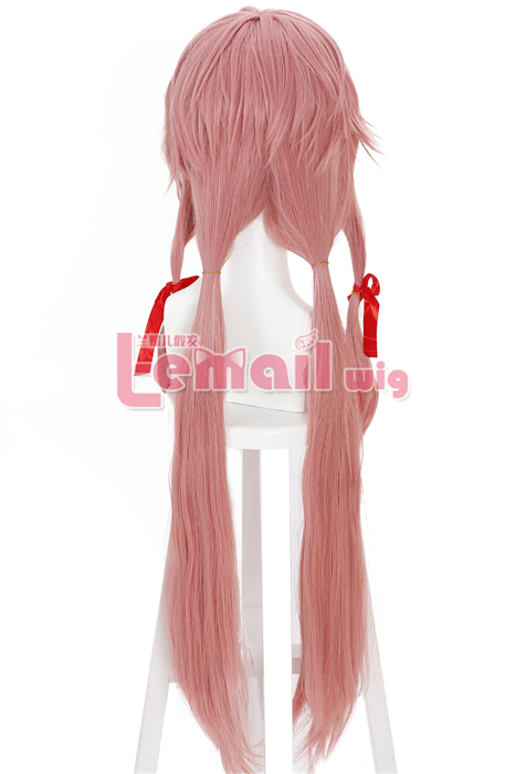 100cm long hot pink The Future Diary Gasai Yuno Ribbons cosp wig