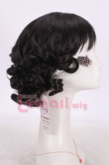 30cm New style sweet Curly Black short Bob COSplay hair wig