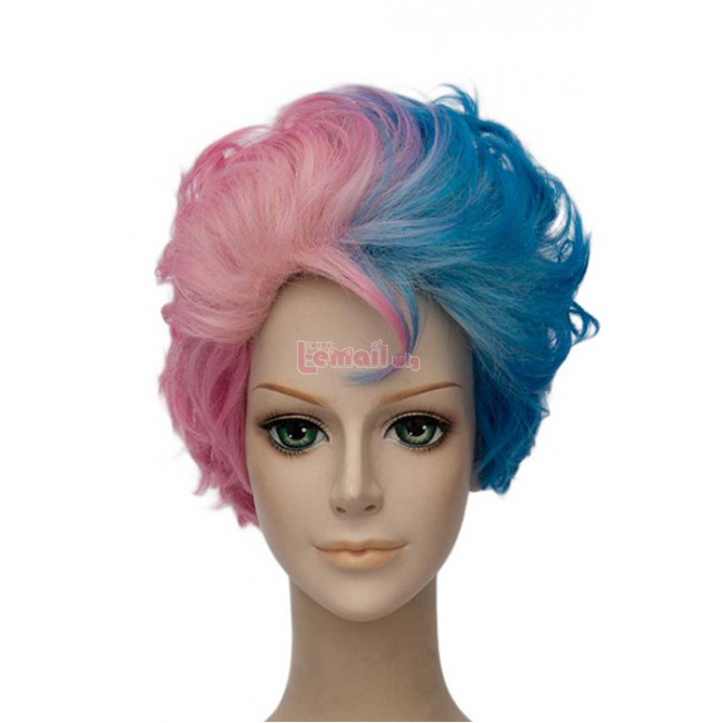 Suicide Squad Harley Quinn Short Curly Wavy Cosplay Wigs ML239-2