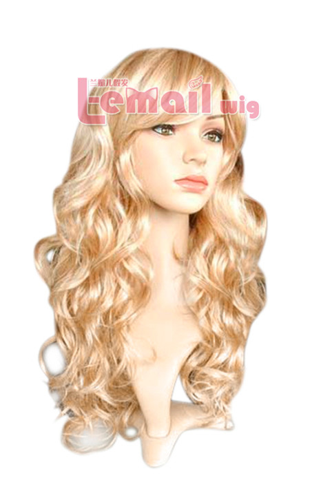 beautiful 60cm long golden women wavy fashion hair wig