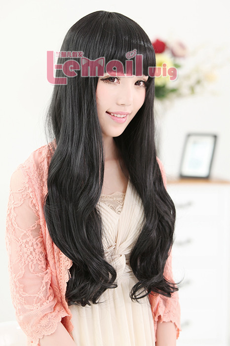 60cm long black sweet curly wavy fashion women hair wig