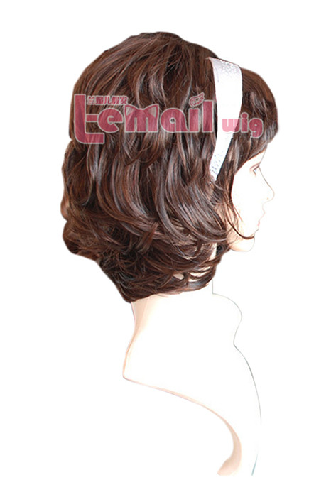 30cm short Dark chestnut brown Fleeciness curl women hair wig