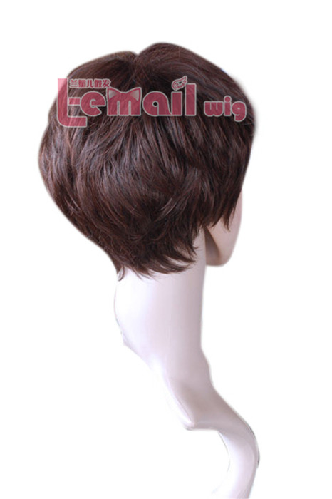 25cm short light brown and black Fashion Small roll women wig