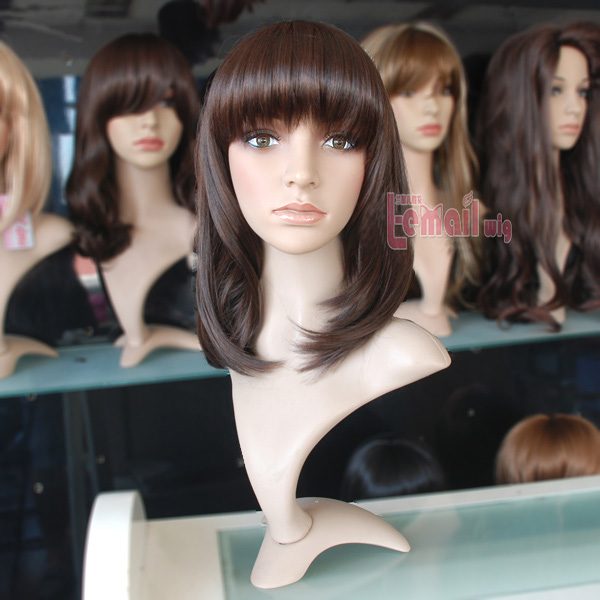 43cm medium straight brown women fashion hair wig XFS29B