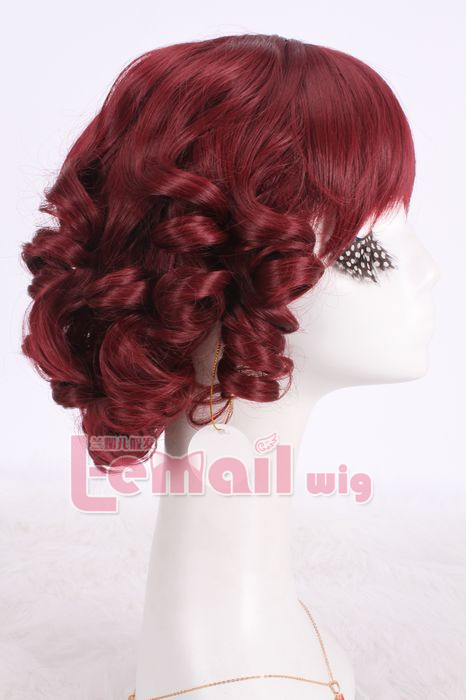 30cm short wine red wave bob cosplay hair wig