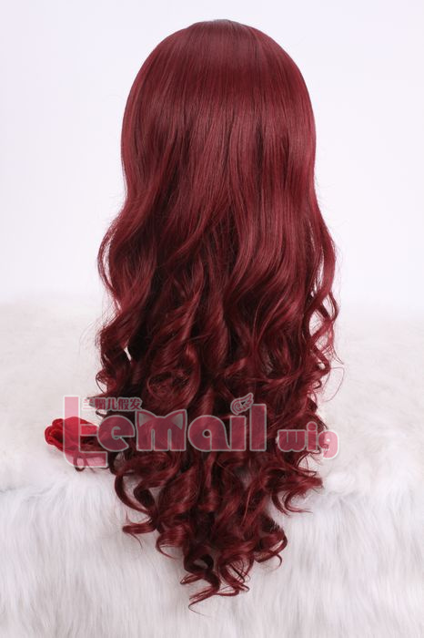 60cm long Classic wine red wave Anime cosplay hair women wig