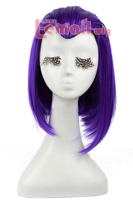 35cm Medium Teen Titans Raven Purple Cosplay Hair Wig ZY10 ZY10