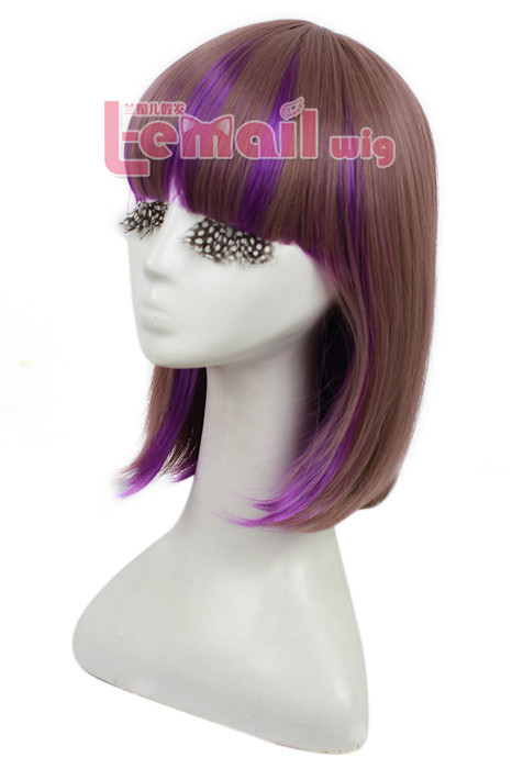 35cm Medium Teen Titans Raven Purple Cosplay Hair Wig ZY10