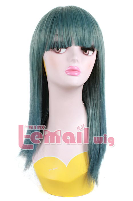 50cm Long Straight Teal green zipper Cosplay Hair Wig ZY109