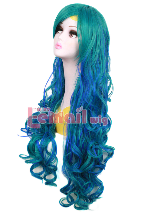 80cm long Mixed Teal Green And Blue wavy sweet Cosplay hair wig