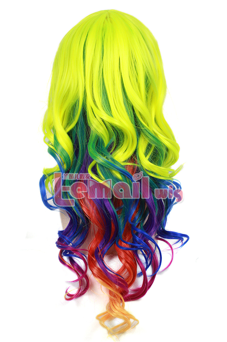 65cm Gothic Classical rainbow color Cosplay hair Wig