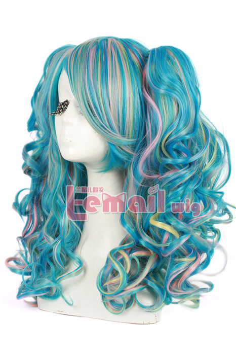 60CM Lolita Multi color long clip-on wave cosplay hair wig