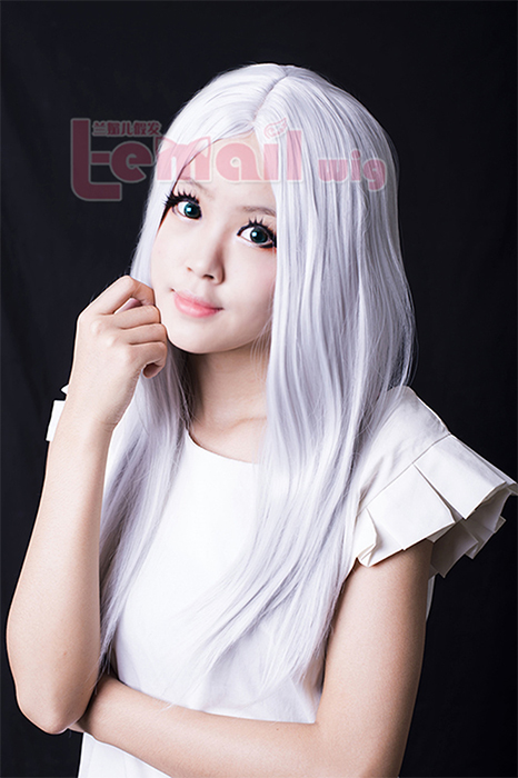 60cm long gray straight cosplay hair wig for women ZY13