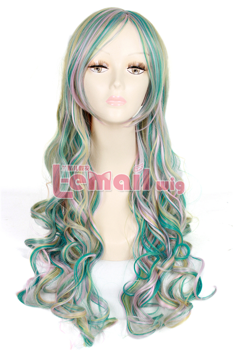 65CM Lolita Multi color long clip-on wave cosplay wig ZY133-1