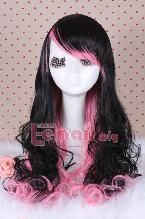 55cm long two different colors wave cosplay hair wig