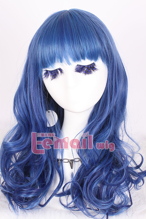 50cm long peacockblue wavy woman cosplay hair wig