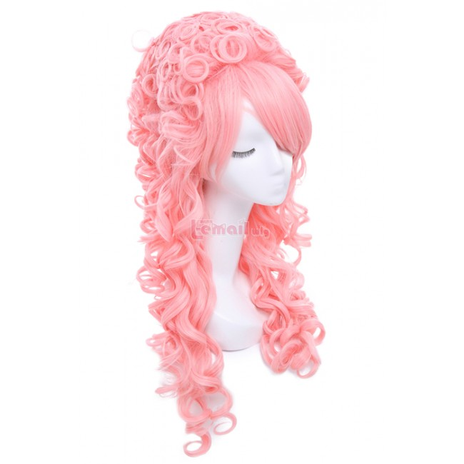 80cm Long Pink Curly Marie Antoinette Anime Hairs Cosplay Wigs