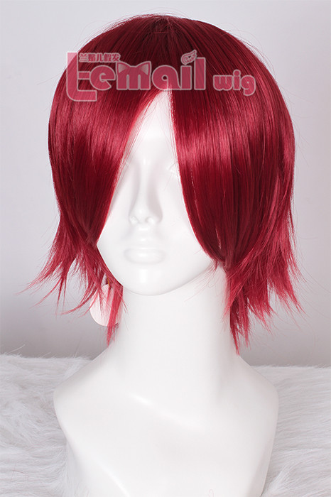 Beautiful wine red short men 30cm free! Rin Matsuoka cosplay wig