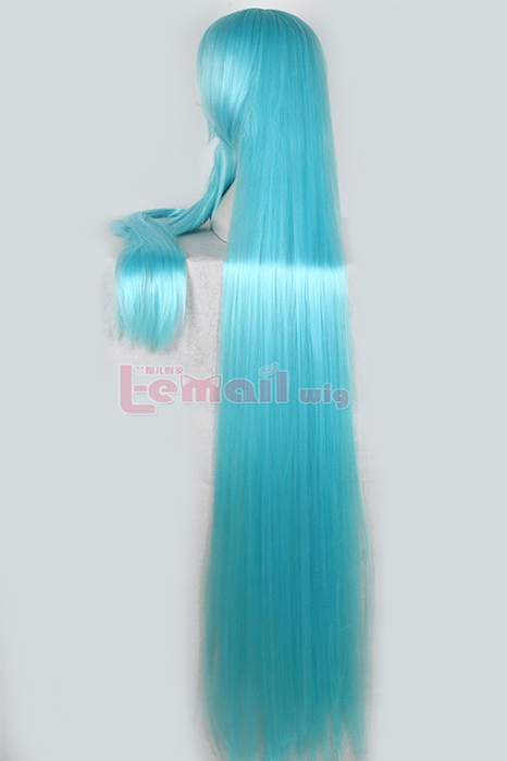 150cm Supper Long Straight Sky Blue Chobits cosplay wig